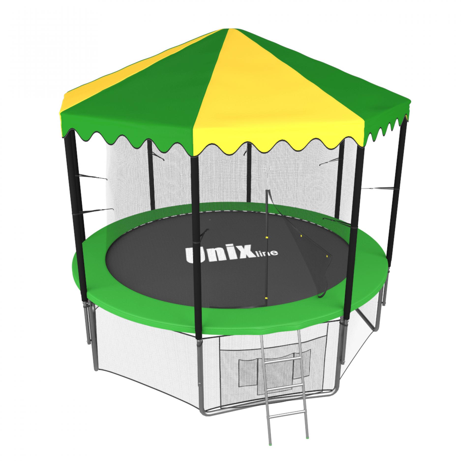 Батут UNIX line 8 ft inside с крышей (зеленый)