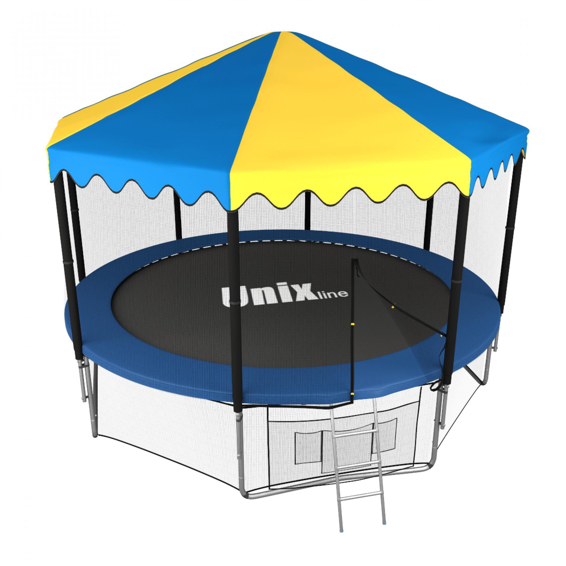 Батут UNIX line 10 ft outside с крышей (синий)