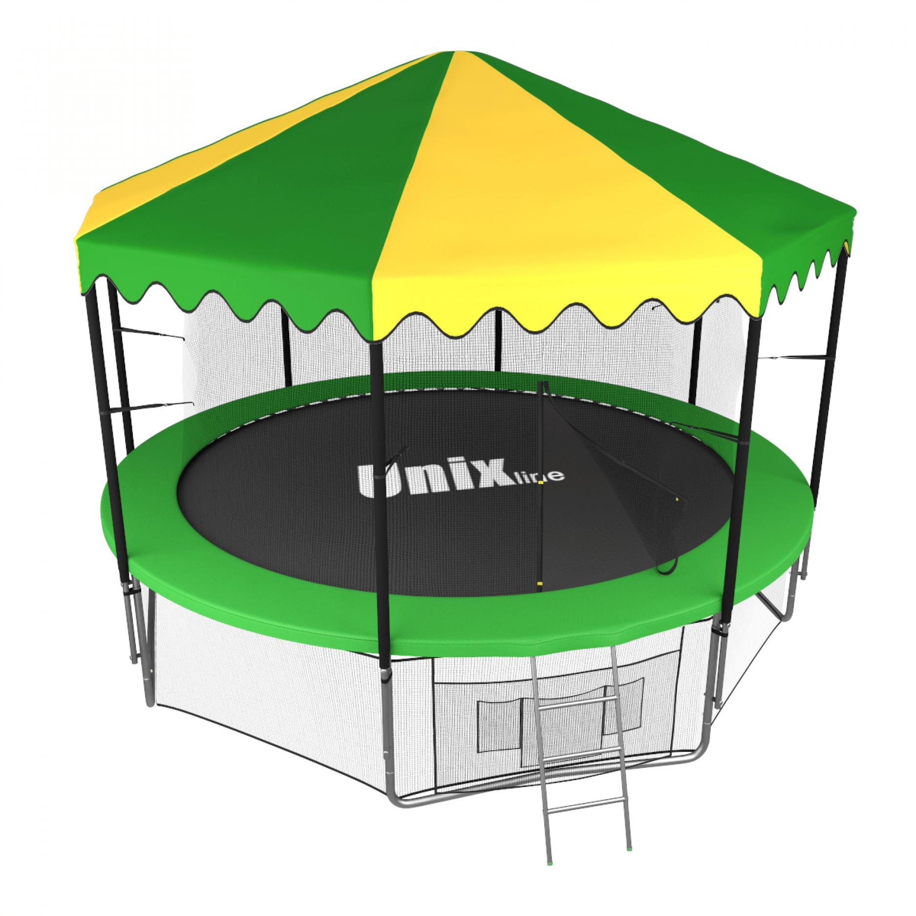 Батут UNIX line 12 ft inside с крышей (зеленый)