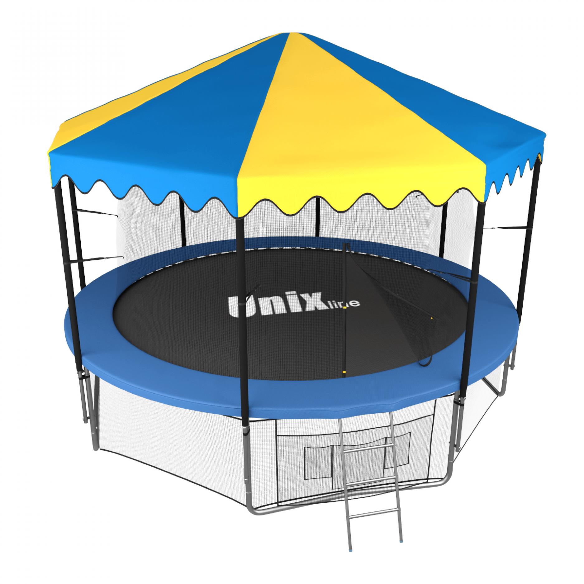 Батут UNIX line 12 ft inside с крышей (синий)