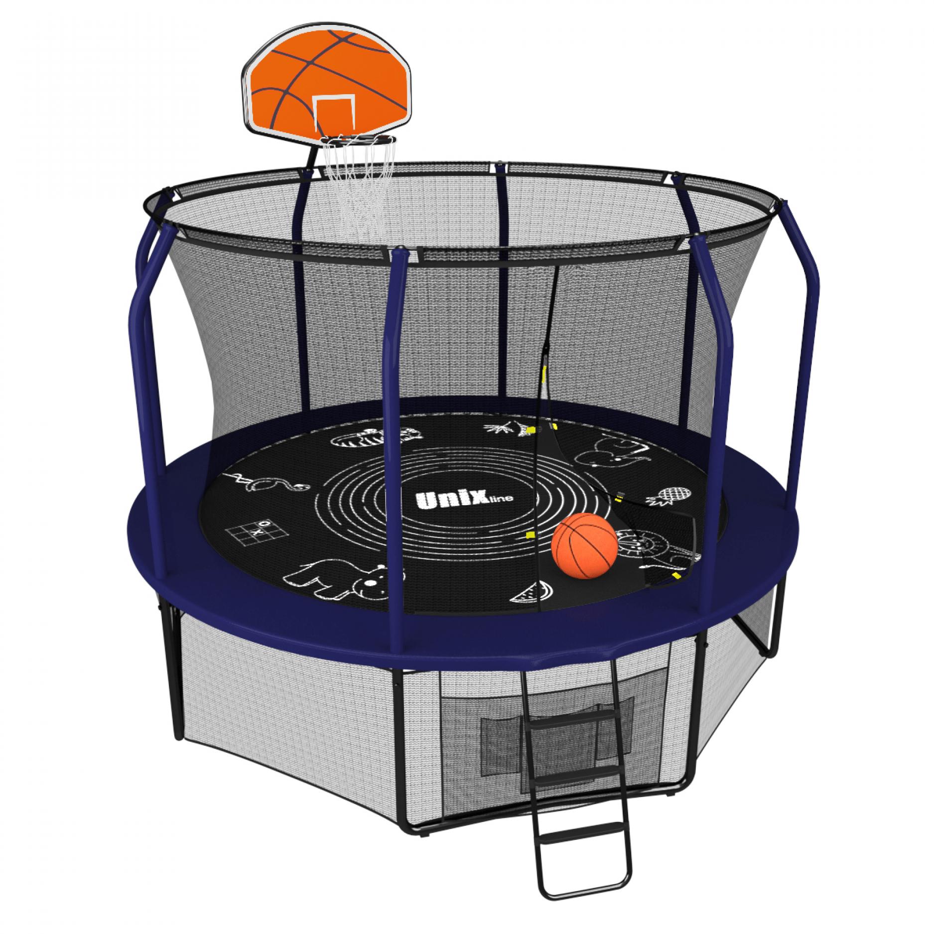 Батут UNIX line SUPREME GAME 10 ft + Basketball (blue)