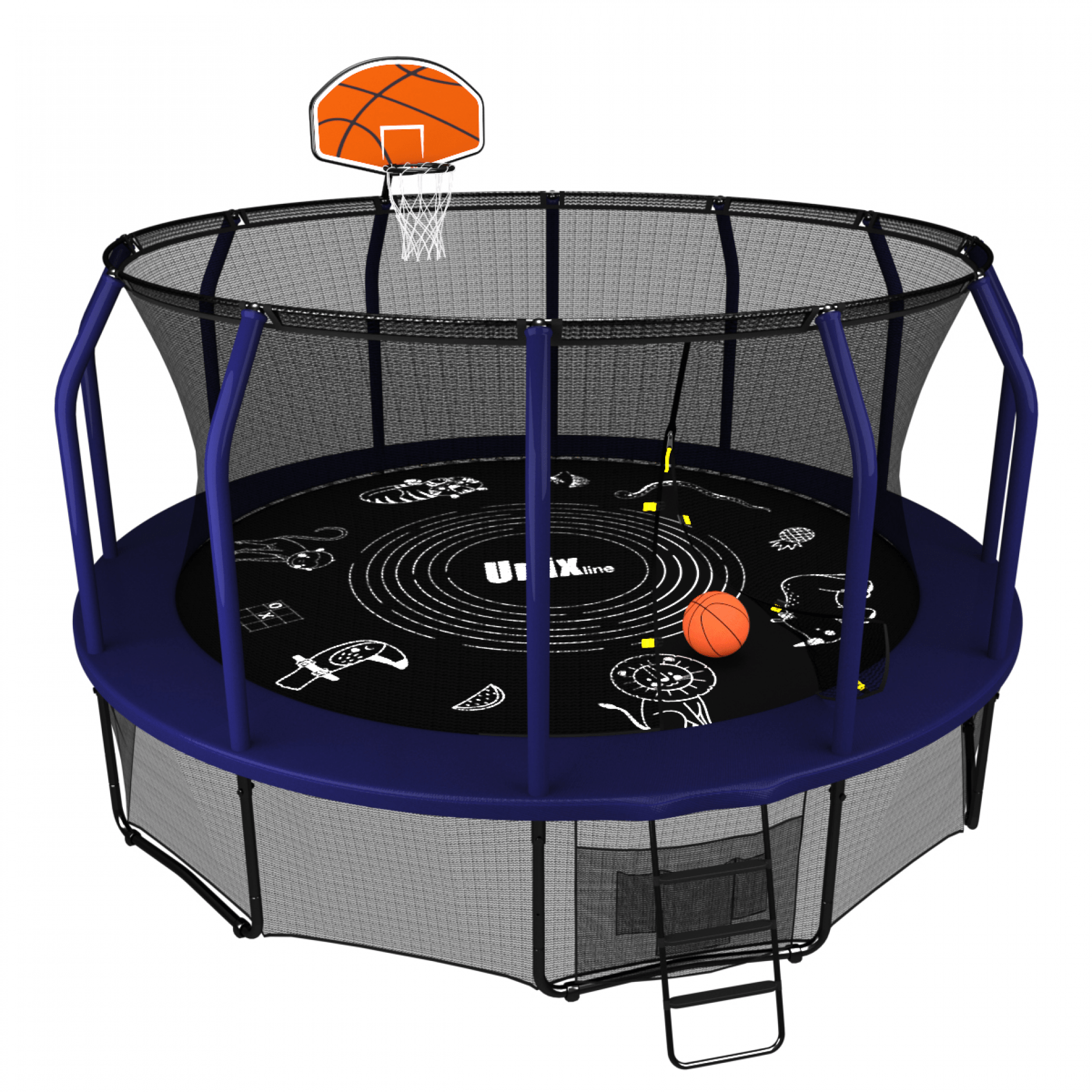 Батут UNIX line SUPREME GAME 16 ft + Basketball (blue)