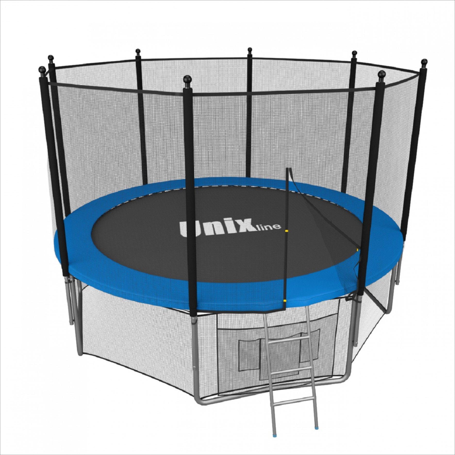 Батут UNIX line 12 ft с наружной сеткой (синий)