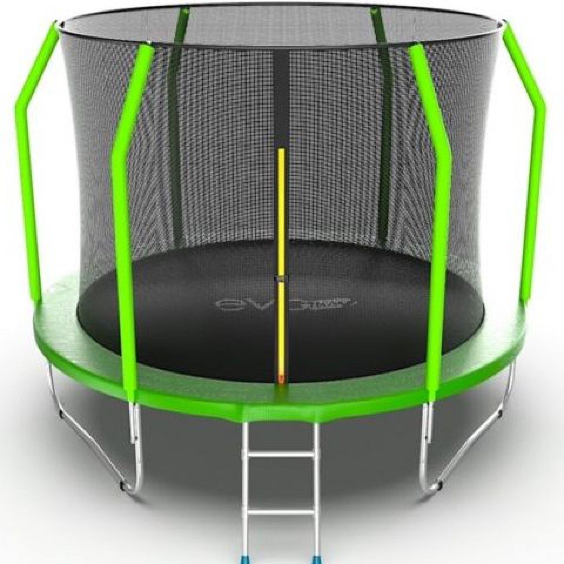 Батут EVO Jump Cosmo 10ft (Green) + Lower net. с внутренней сеткой и лестницей + нижняя сеть