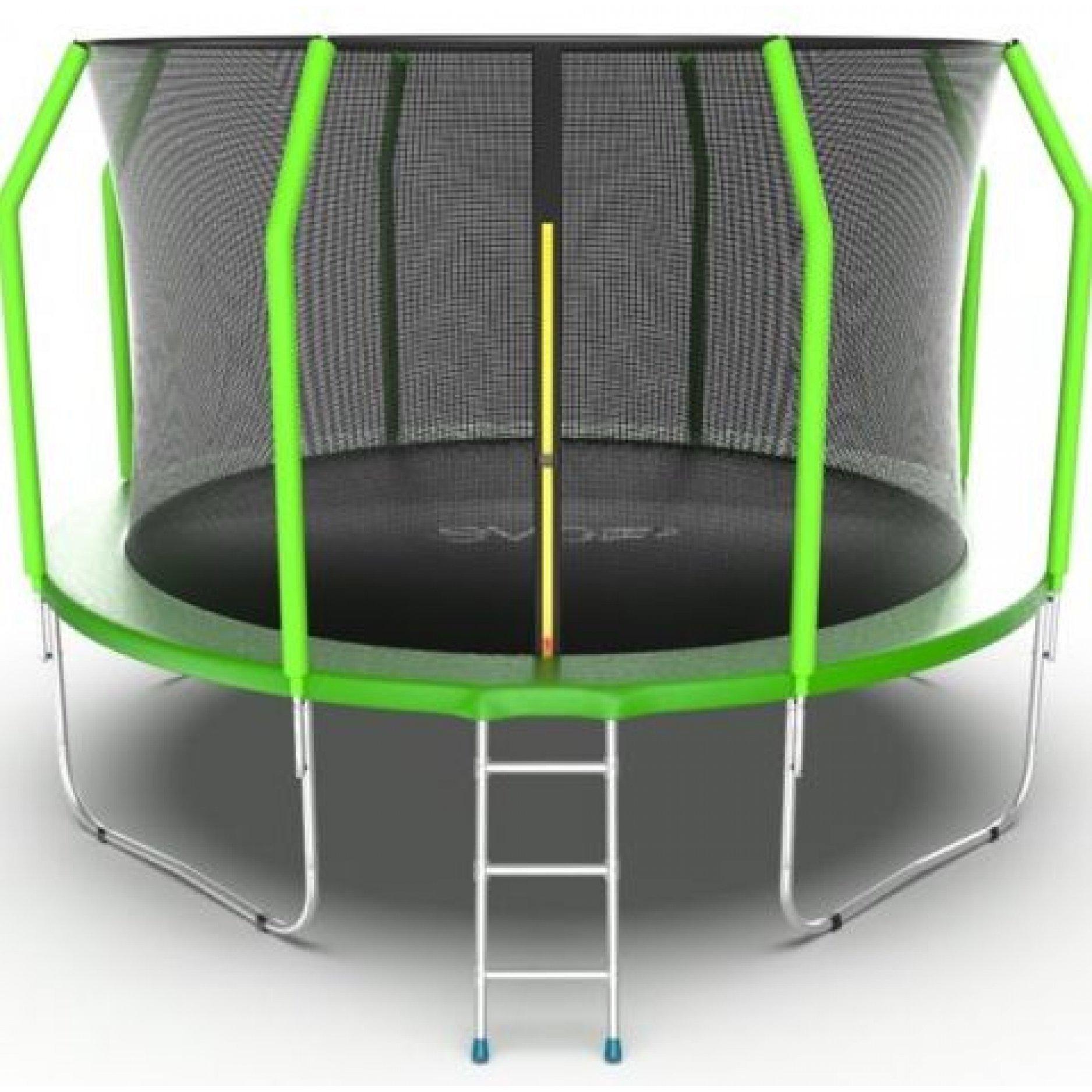 Батут EVO Jump Cosmo 12ft (Green) + Lower net. с внутренней сеткой и лестницей + нижняя сеть
