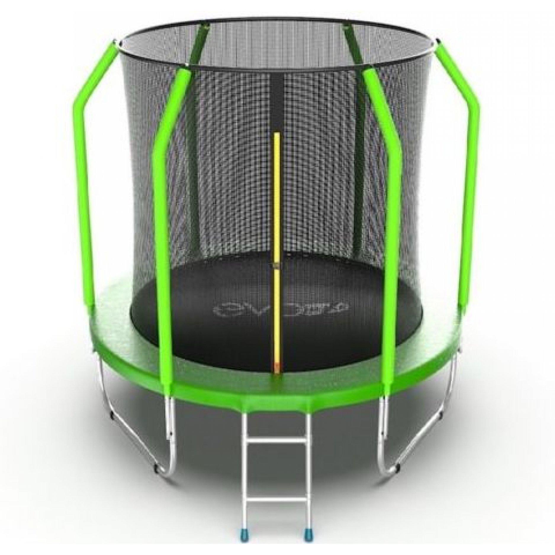 Батут EVO Jump Cosmo 6ft (Green) + Lower net. с внутренней сеткой и лестницей + нижняя сеть