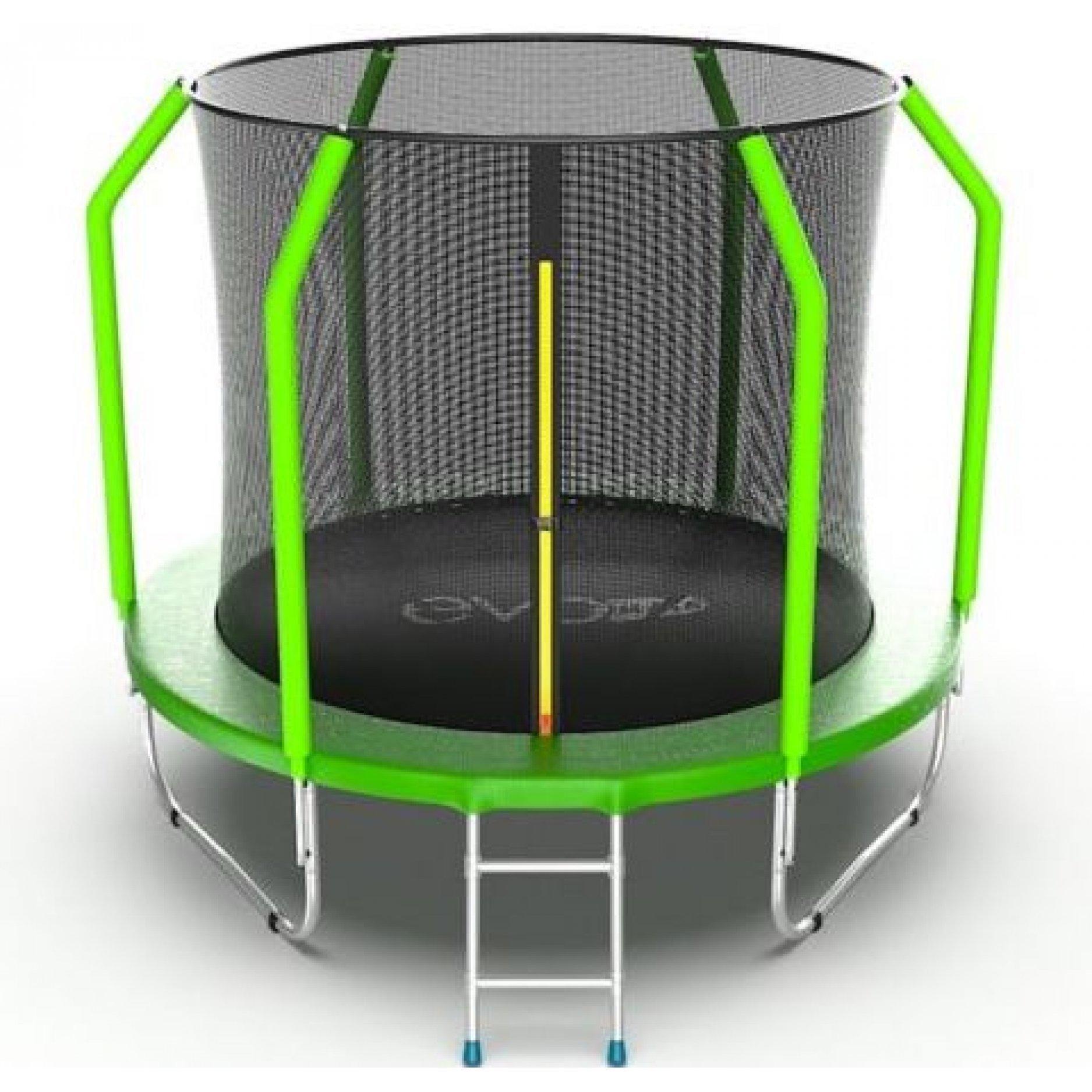 Батут EVO Jump Cosmo 8ft (Green) + Lower net. с внутренней сеткой и лестницей + нижняя сеть