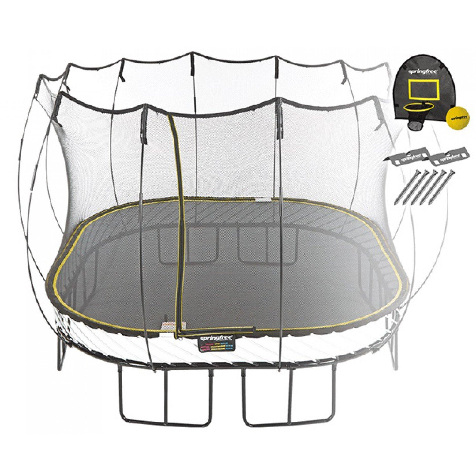 Батут квадратный Springfree S113 HA с корзиной для мяча и фиксаторами