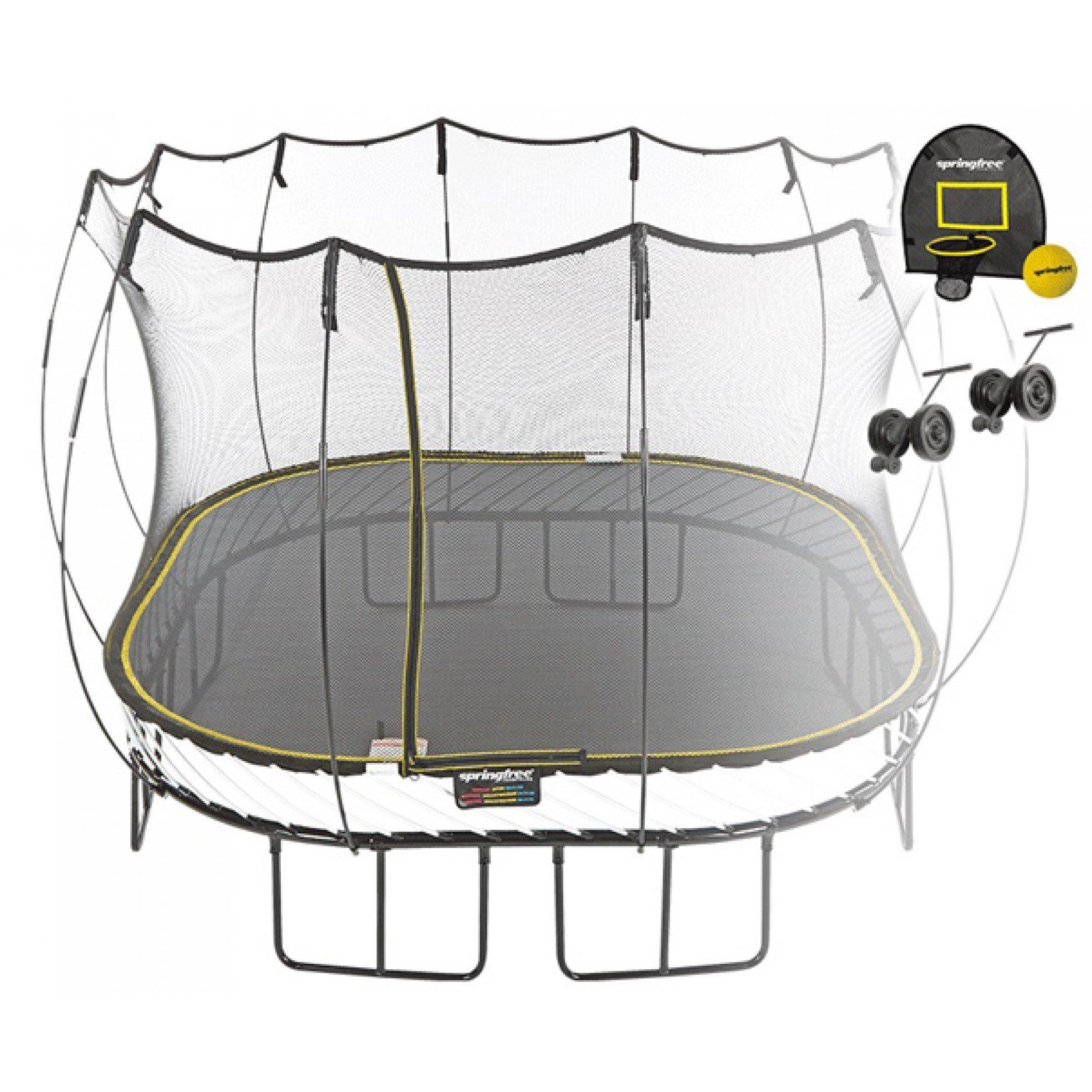 Батут квадратный Springfree S113 HW с корзиной для мяча и колесиками
