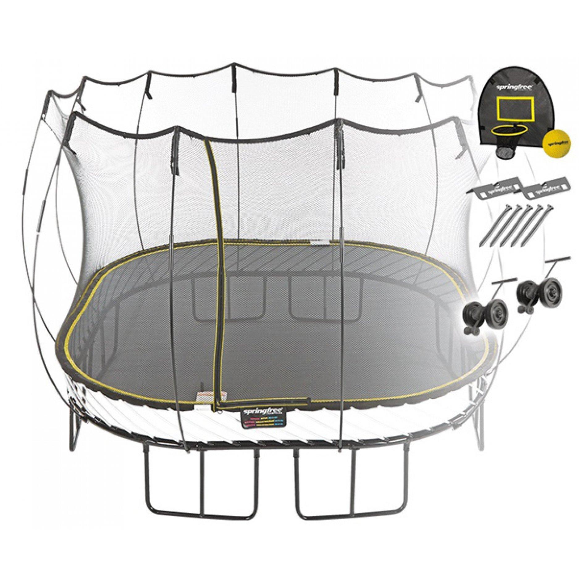 Батут квадратный Springfree S113 HAW с корзиной для мяча, фиксаторами и колесиками