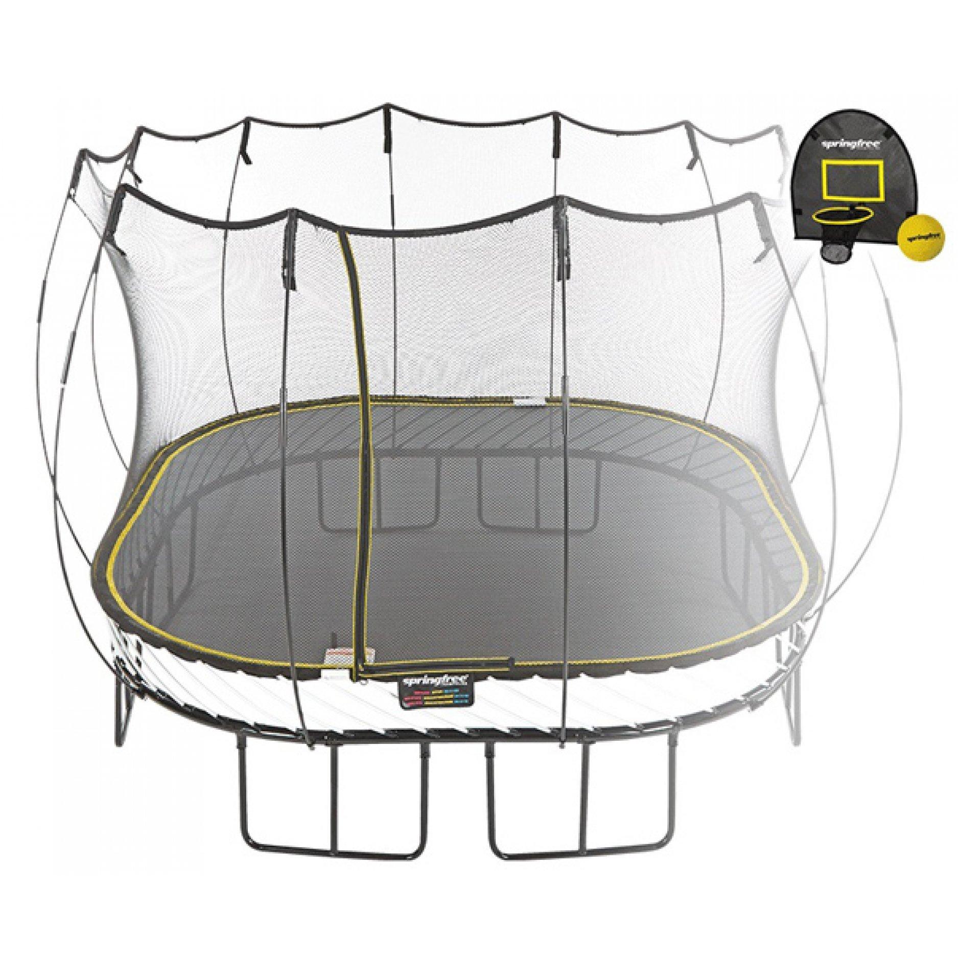 Батут квадратный Springfree S113 H с корзиной для мяча