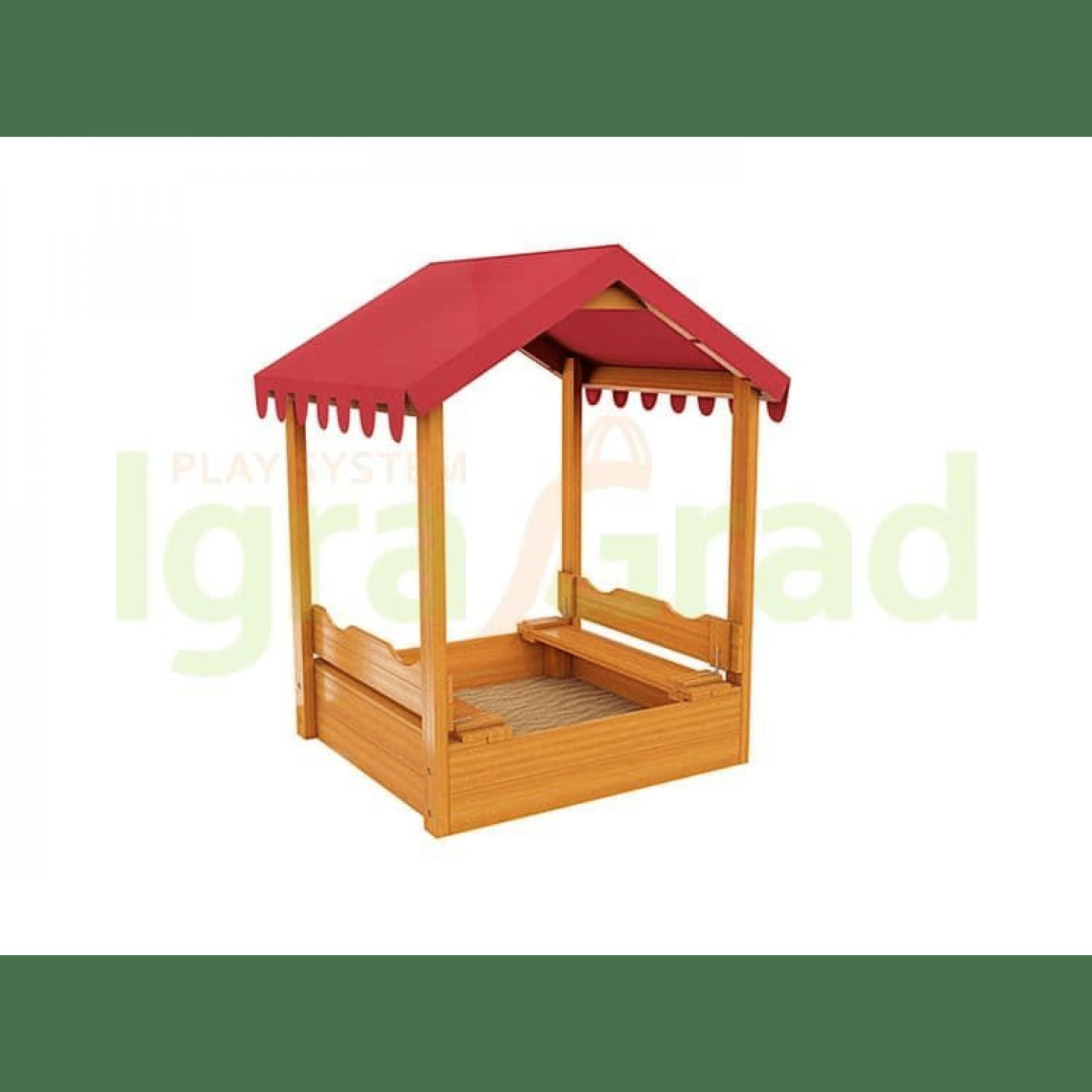 Детская деревянная песочница с тентом