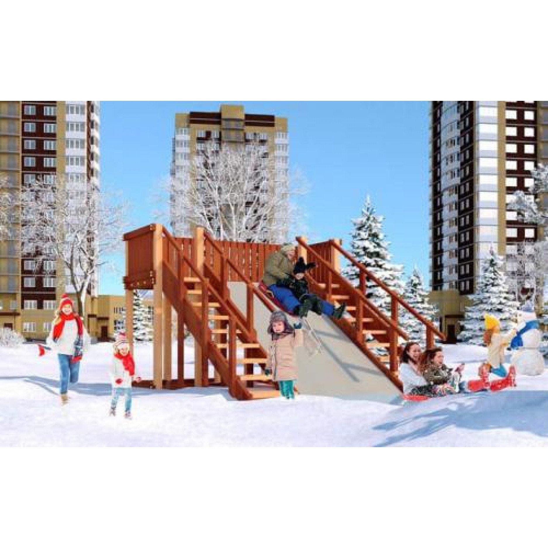 Зимняя деревянная игровая горка Савушка  Зима  - 4