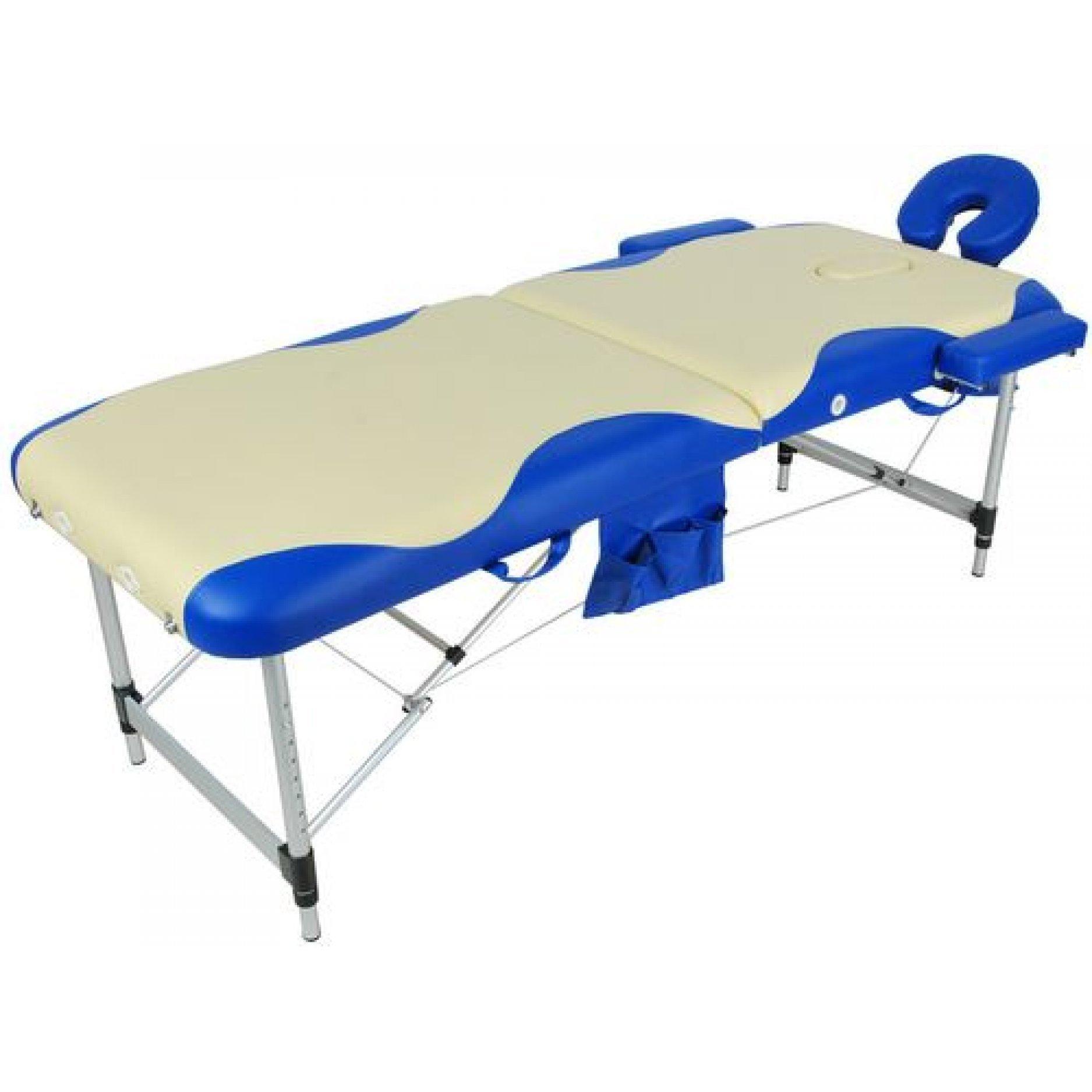Массажный стол Medmos JFAL01A 2-х секционный (МСТ-002Л) бежевый с синей волной