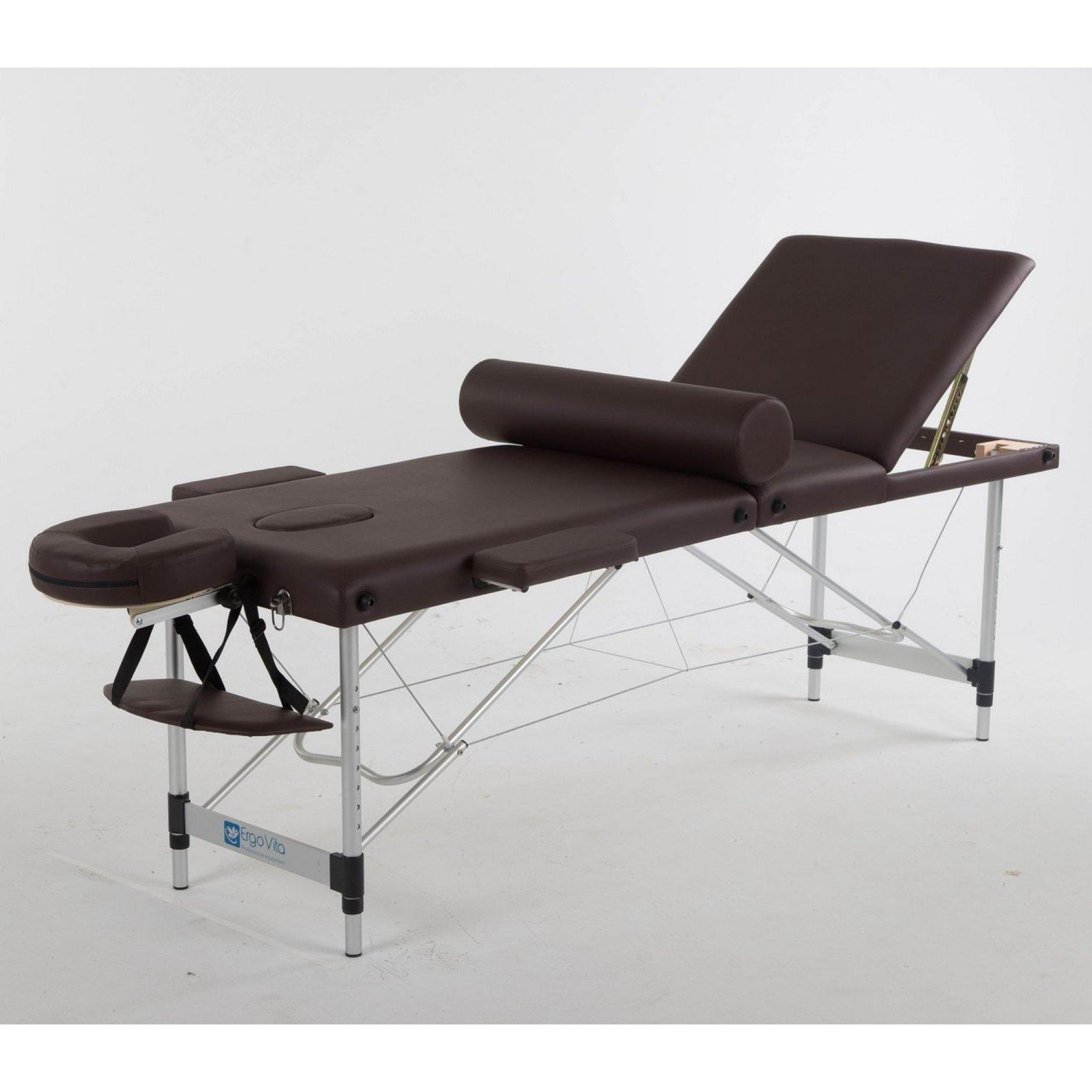 Складной массажный стол ErgoVita Classic Alu Plus коричневый