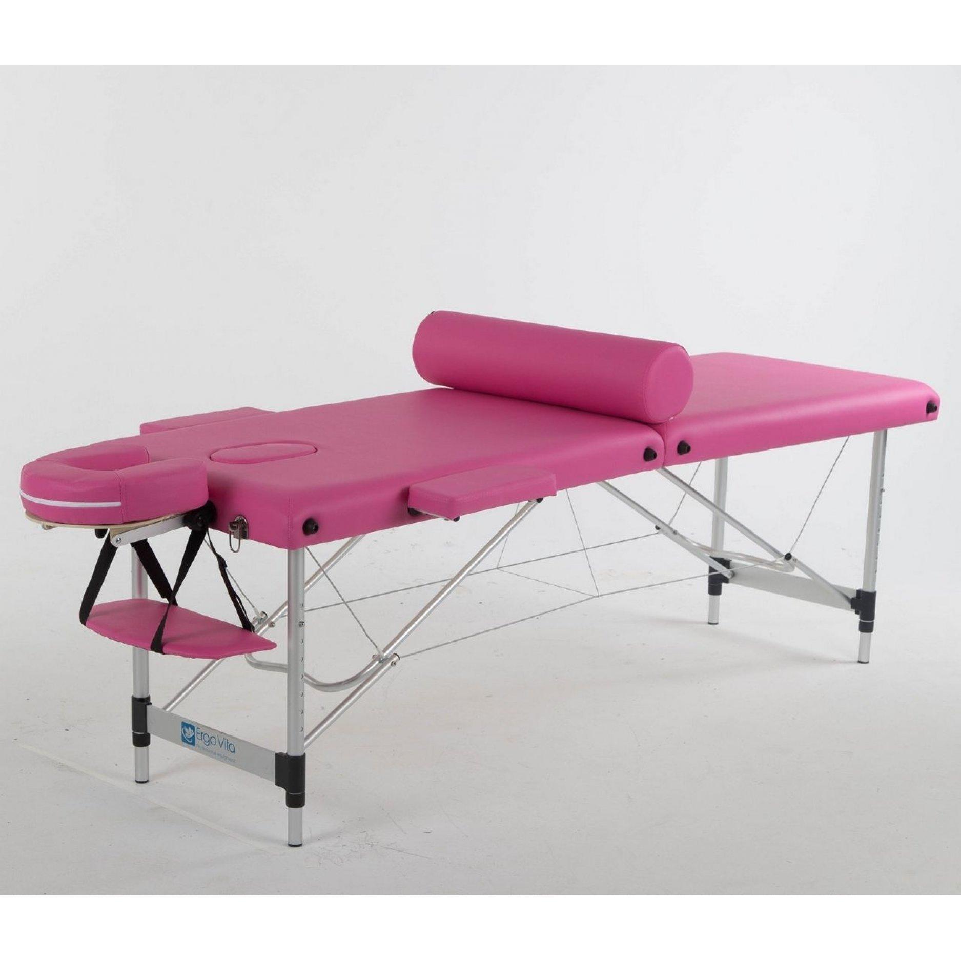 Складной массажный стол ErgoVita Classic Alu розовый