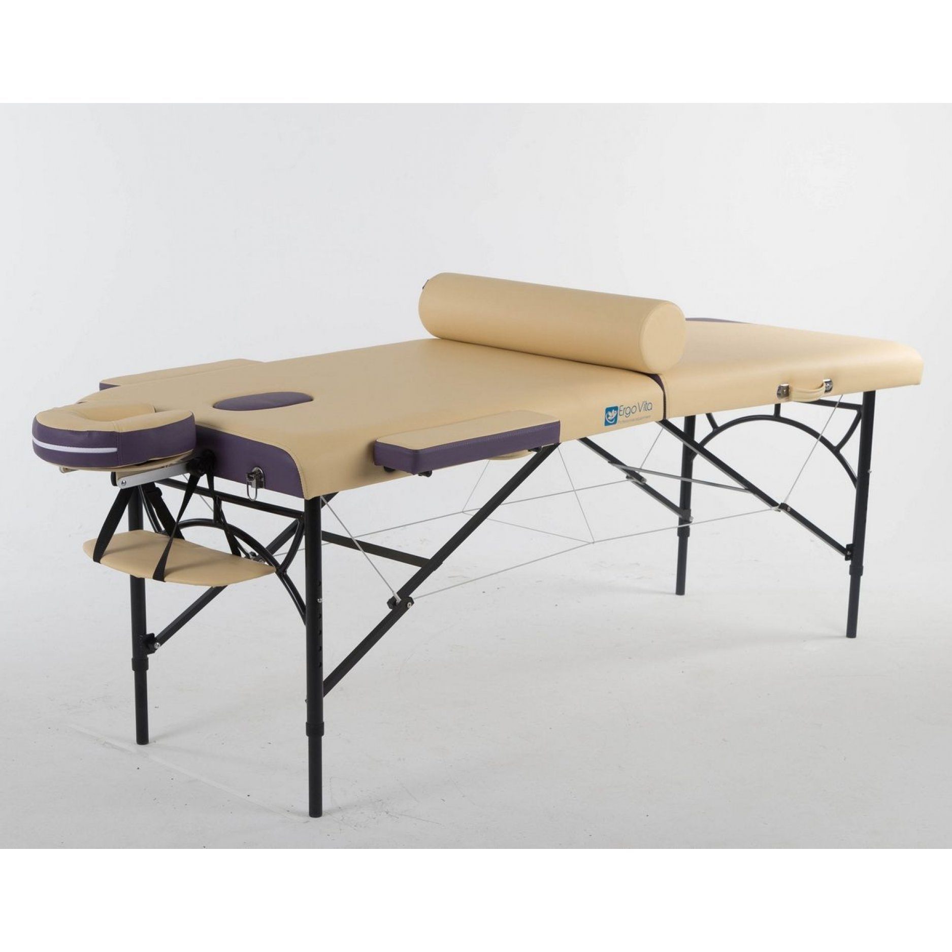 Складной массажный стол ErgoVita Master Alu Comfort бежевый+фиолетовый