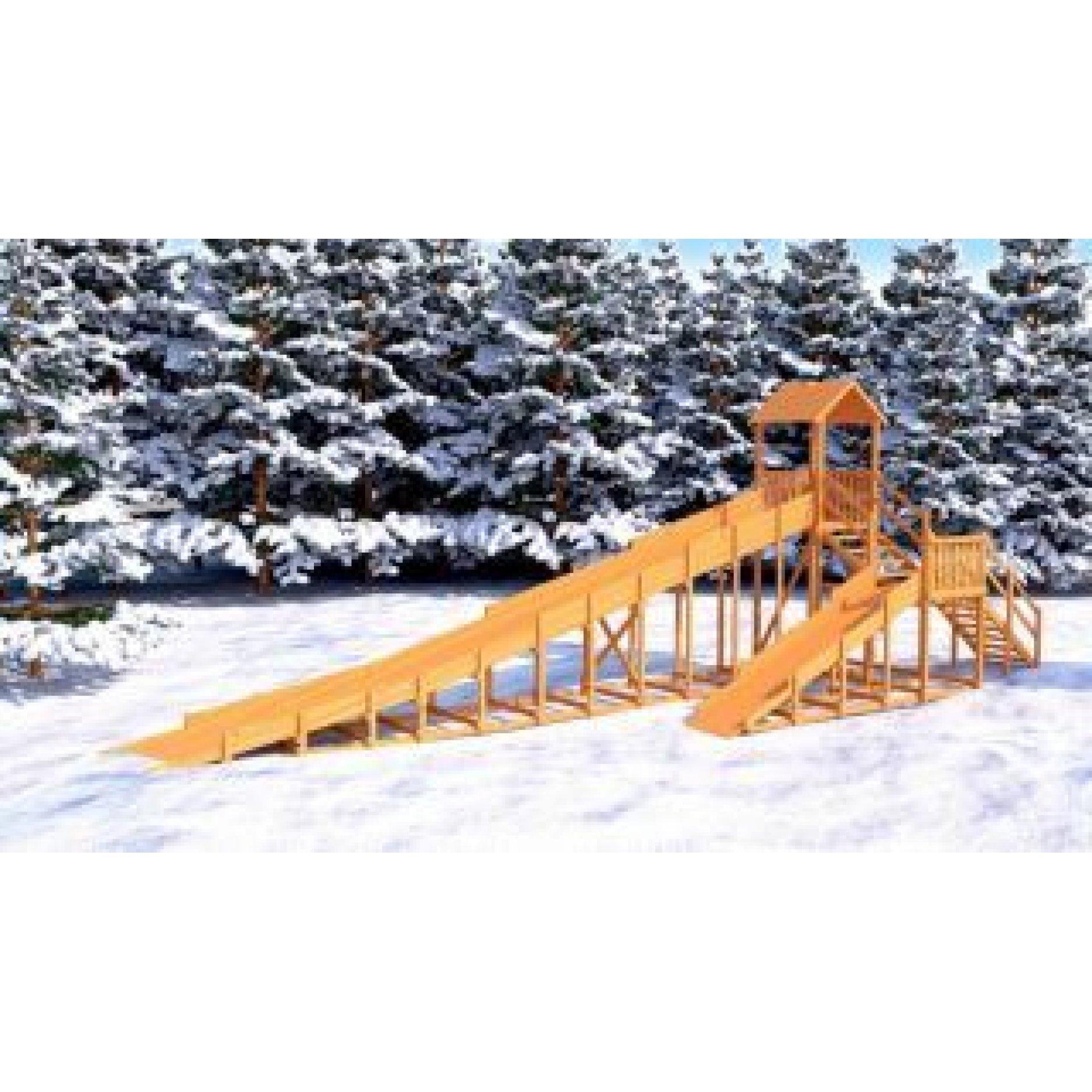 Зимняя деревянная горка Snow Fox 12 м с двумя горками ( 18 метров общая )